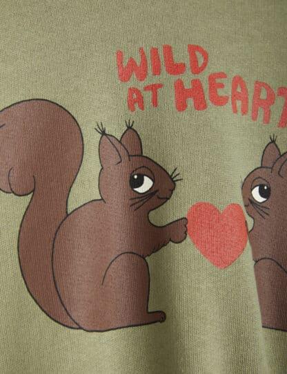 MINI RODINI - WILD AT HEART SWEATSHIRT GREEN