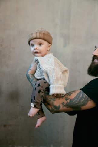 I DIG DENIM - ALLAN PANT ORGANIC BROWN-PRINT BABY