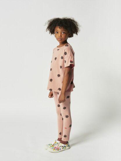 BOBO CHOSES - POMA ALLOVER SHORT SLEEVE T-SHIRT PINK KID